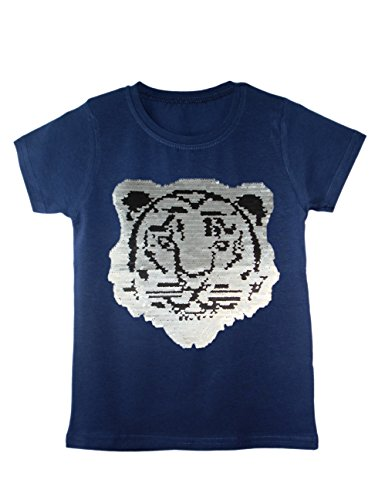 Kids Boys Girls Emoji Tiger Football T-Shirt TEE TOP Brush Changing Sequin 3-14Y