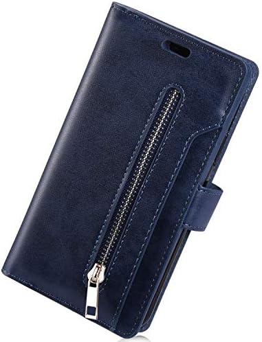 Herbests Kompatibel mit Samsung Galaxy A71 HandyHülle Handytasche Männer Multifunktionale Reißverschluss Brieftasche Hülle Leder Schutzhülle [9 Kartenfach] Handschlaufe Ständer,Dunkelblau