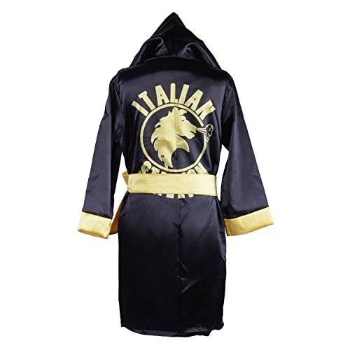 (HUALIL Kids Rocky Balboa Black Boxing Costume Robe Shorts Boy Halloween Cosplay Suit)