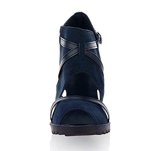 FANIMILA Mujer Moda Ankle Wrap Peep Toe Tacon de Cuña Sandalias with Leopard Print Heel Azul