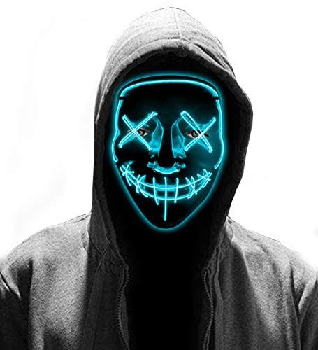 LED Light Up Mask - LED Halloween Mask 2019 LED Mask Glowing Mask The Purge Mask for Women Men DJ Cosplay Costume Masquerade Carnival Halloween Ice Blue (Best Halloween Masks 2019)