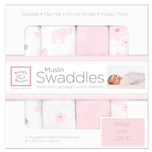 SwaddleDesigns Cotton Swaddle Blankets Elephant