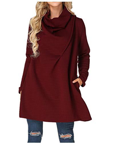 ZANZEA Womens Cowl Neck Plus Size Sweater A Line Swing Dress Turtleneck Knitted Sweatshirt Long Sleeve Wine Red US 4