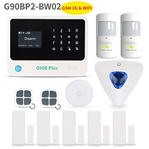 Home Security System,Golden Security touch screen keypad LCD display Wireless WIFI & GSM(2G) 2-in-1 with Auto Dial,Motion Detectors and more DIY Home Alarm System (Wireless Home Security Systems Keypad)