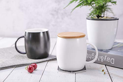 - Coffee Mugs with Lid 12 OZ, 2 Pack Black and White Ceramic Coffee Tea Cups Set