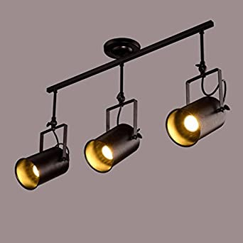 Buluke Dekorative Beleuchtung Retro Industrial Style Scheinwerfer LED  Anzeige Zähler Rezeption Bar Anschluss Leuchten 3 Leuchten
