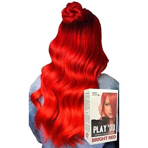 Play 'Do Urban Hair Color Bright Red 180 ml, Revolutionary Hair color cream, Permanent hair color, Hair dye, Highlights (Best Bright Hair Dye)