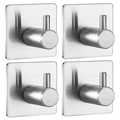 Jekoo Towel Hooks Self Adhesive, Heavy Duty Coat Hooks with Brushed Stainless Steel Stick On Shower Kitchen Bathroom Office Ideal for Robes, Hats, Clothes, Bags, Coats, Keys - (4 Packs)