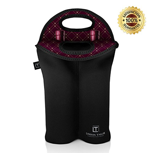 LONDON TAILOR Neoprene 2 Bottle Wine Carrier - Insulated Neoprene Wine Tote Purse for 2 Standard Sized Bottles - Well Built BYOB Tote - Better Quality Than Other Carriers & Totes on Amazon