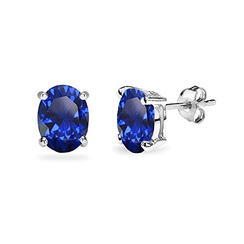 (Sterling Silver Created Blue Sapphire 8x6mm Oval-Cut Solitaire Stud Earrings)
