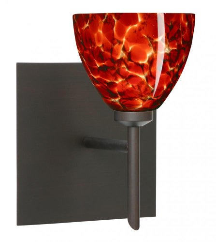 Besa Lighting 1SW-185841-BR-SQ 1X40W G9 Divi Square Canopy Wall Sconce with Garnet Glass, Bronze Finish