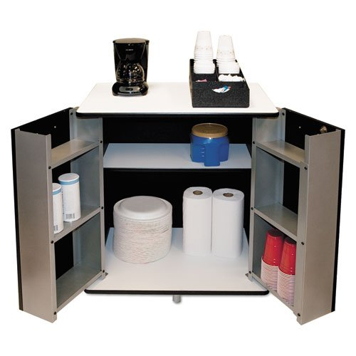 Refreshment Stand - VertiflexTM - Refreshment Stand, 2-Shelf, 29-1/2w x 21d x 33-1/2h, Black/White - Sold As 1 Each - Spacious top can support microwave or coffee maker.
