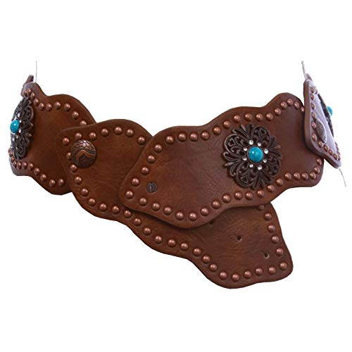"3"" (75 mm) Wide Link Turquoise Studded Leather Belt, Brown 