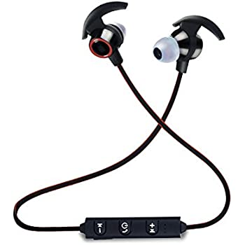 Bluetooth Headset - Enhanced 4.2 HD Stereo Bass Noise Cancelling Wireless Bluetooth Earbuds with Mic - Non-Slip Sweatproof Hands-free Fitness Sports In-Ear ...