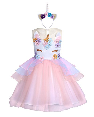 KABETY Baby Girl Unicorn Costume Pageant Flower Princess Party Dress with Headband (110cm, -