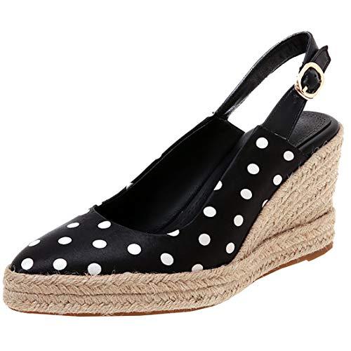 Artfaerie Womens Polka Dot Slingback Pumps Pointed Toe Espadrilles Wedge Satin Sandals (US 10, Black)