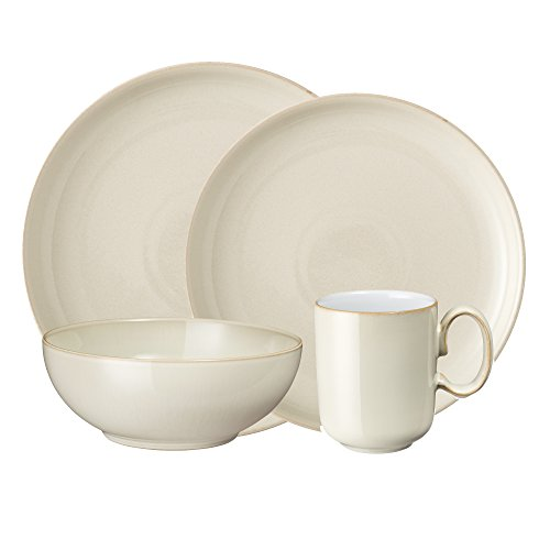 (Denby LIN-100B Linen 4 Piece Coupe Place Setting, Cream, Medium)