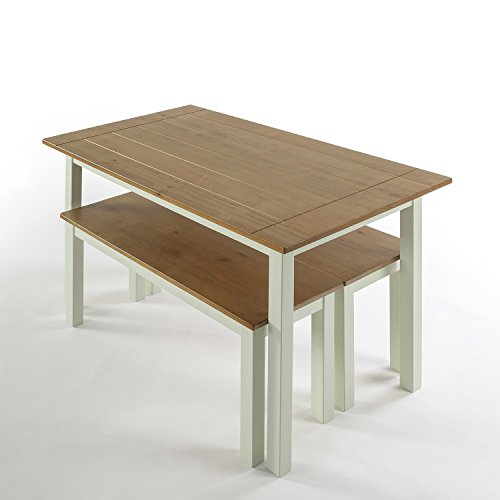 Zinus Farmhouse Dining Table With Two Benches/3 Piece Set