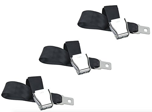 Adjustable, E4 Safety Certified Airplane Seat Belt Extension with Velour Carrying Case for Easy Travel - Universal to Fit All Airlines Except Southwest Airplanes (3-Pack)