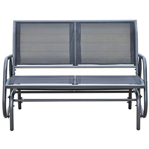 2 Loveseat Bench Rocker Swing Chair Aluminum Mesh Backrest Provide Coziness Waver Terrace Balcony