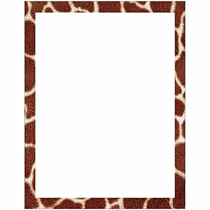 amazon com giraffe print border stationery letter paper wildlife