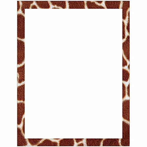 Giraffe Print Border Stationery Letter Paper - Wildlife Animal Theme Design - Gift - Business - Office - Party - School Supplies