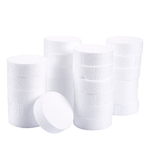 Craft Foam Circle - 24-Pack Polystyrene Foam Disc Foam Round for Sculpture, Modeling, DIY Arts and Crafts - White, 3 x 3 x 1 Inches from Juvale