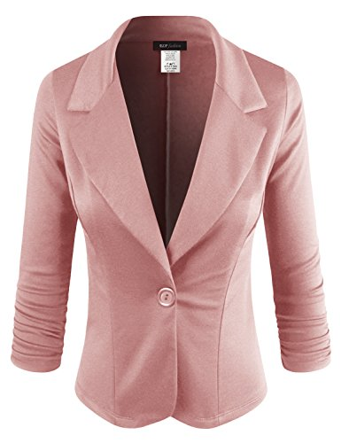 ELF FASHION Women Casual Work Knit Office Blazer Jacket Made In USA (Size S~3XL) Pink - Office Jacket