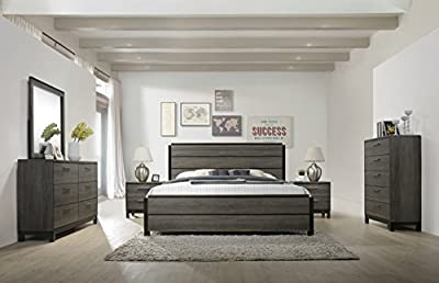 Roundhill Furniture Ioana 187 Antique Grey Finish Wood Bed Room Set, King Size Bed, Dresser, Mirror, 2 Night Stands, Chest-P by Roundhill Furniture