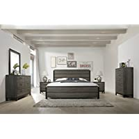 Ioana Antique Grey Finish Wood Bed Room Set, Queen Size Bed, Dresser, Mirror, 2 Night Stands, Chest