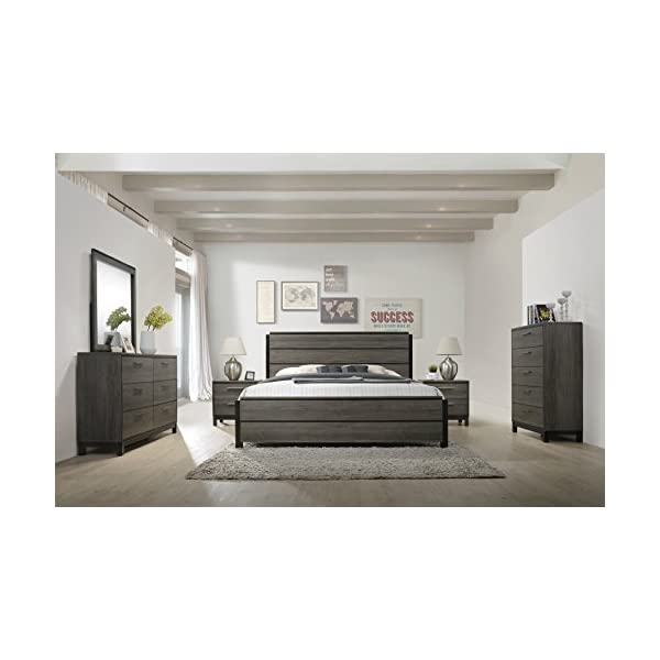 Roundhill Furniture Ioana 187 Antique Grey Finish Wood Bed Room Set, King Size Bed,...