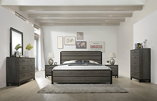 (Roundhill Furniture Ioana 187 Antique Grey Finish Wood Bed Room Set, King Size Bed, Dresser, Mirror, 2 Night Stands,)