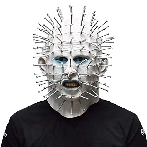 Scary Pinhead Halloween Mask Hellraiser Movie Creepy Lifelike Cosplay Resurrection Prosthetic Exorcist Adult Party for $<!--$27.99-->
