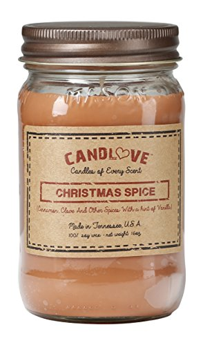 CANDLOVE 'Christmas Spice Scented 16oz Mason Jar Candle 100% Soy Made in The USA