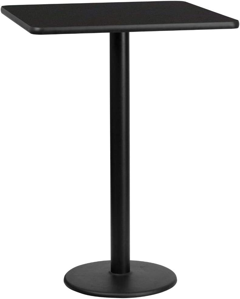 Flash Furniture 30'' Square Black Laminate Table Top with 18'' Round Bar Height Table Base