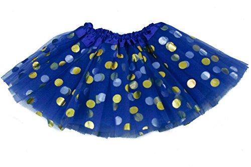 Polka Dot Tulle Skirt (The Hair Bow Company Little Girls Baby & Toddler Gold Polka Dot Tulle Tutu Skirt for 0-2 Years Royal Blue)