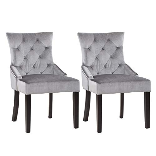 CorLiving LAD-480-C Antonio Accent Chair in Soft Grey Velvet, Set of 2 For Sale