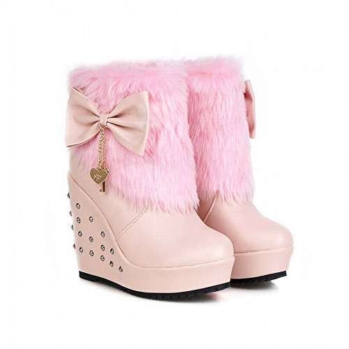Bows Pink Lolita Snow Faux Fur Sweet Carolbar Wedges Christmas Womens Boots Cosplay SgPq4t