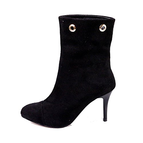 AllhqFashion Womens Round Closed Toe High-Heels Frosted Low-Top Solid Boots Black IisPbp5fBR