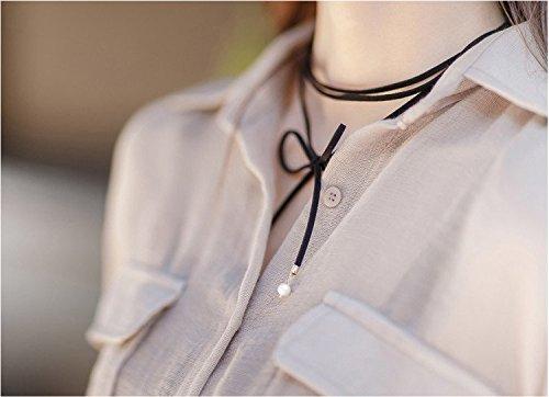 AKOAK 1Pcs Simple Lovely Tie Me Black Velvet Chain Stretch Choker Suede Wrap Necklaces for Women Girls