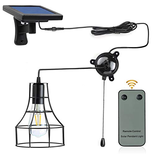 Indoor Solar Barn Lights,Kyson Solar Powered Led Shed Light with On Off Switch and Pull Cord Also Replaceable Vintage Edison Bulb