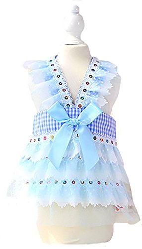 Puss In Boots Cat Costume (MaruPet Summer Sweet Puppy Doggie Dot Printed Princess Skirt Paillette Design Pet Dog Lace Cake Camisole Tutu Dress with Bowknit Blue XL)