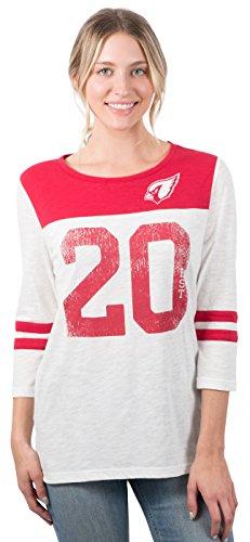 Icer Brands NFL Arizona Cardinals Women's T-Shirt Vintage 3/4 Long Sleeve Tee Shirt, X-Large, White