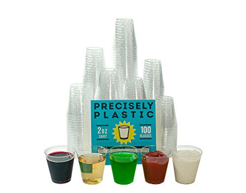 100 Shot Glasses Premium 2oz Clear Plastic Disposable Cups, Perfect Container for Jello Shots, Condiments, Tasting, Sauce, Dipping, -