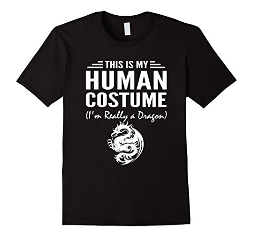 Mens This Is My Human Costume I'm Really a Dragon Halloween shirt Medium Black (M And M Costume For Halloween)