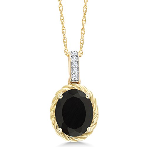 Black Onyx Gold Pendant - Gem Stone King 2.04 Ct Oval Black Onyx White Diamond 10K Yellow Gold Pendant