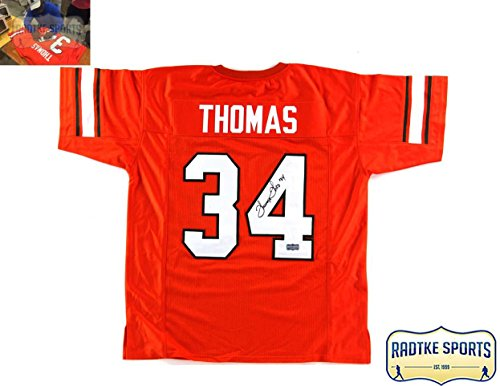Thurman Thomas Autographed/Signed Oklahoma State Cowboys Custom Orange Jersey