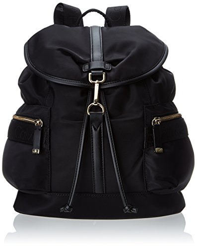 Calvin Klein Nylon Fashion Backpack,Black/Gold,One Size