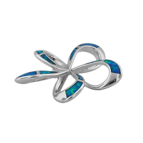 Argent sterling synthétique Opale bleue 21mm ouvert Plumeria Pendentif Collier, 16+ Rallonge de 5,1cm