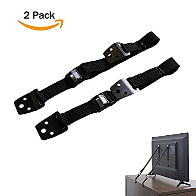 Anti-Tip Furniture & TV Safety Straps | Earthquake Proof | Heavy Duty Mount Anchor For Baby Proofing Flat Screen TV, Dressers, Cabinets, Wardrobe, Bookcase | Bolts & Metal Parts Included - 2 Pack